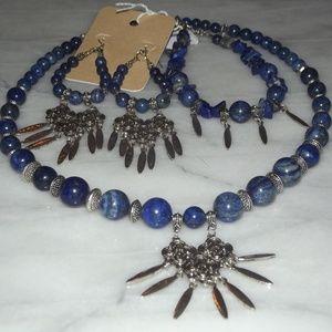Jewelry - Natural Lapis Lazalu Gemstone Necklace Set